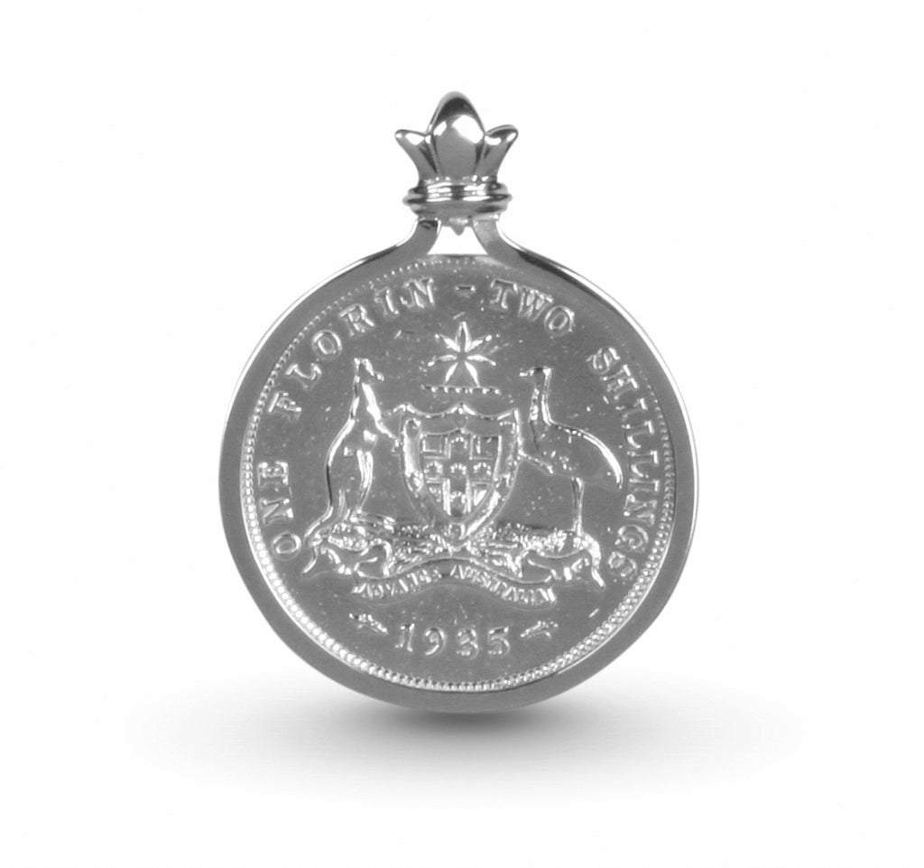 Australian Coat of Arms Florin Coin Silver Pendant