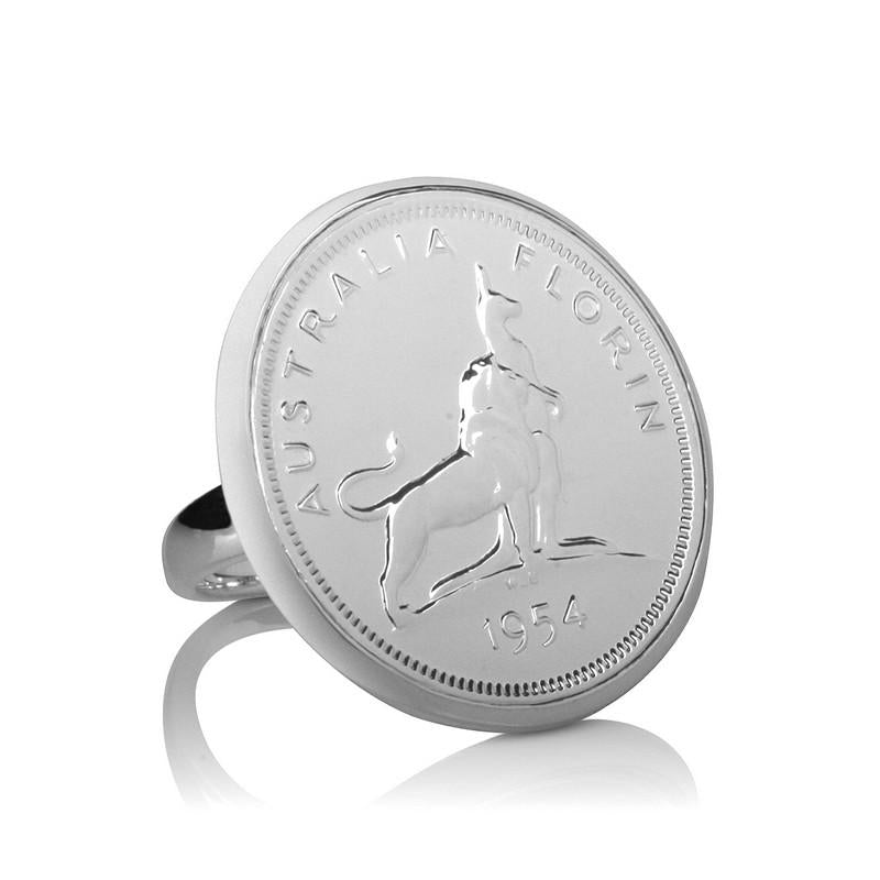 Royal Visit Commemorative 1954 Australian Florin Coin Ring