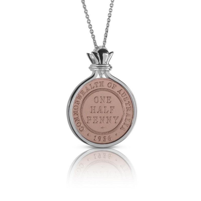 Australian Rose Gold & Silver One Half Penny Coin Pendant