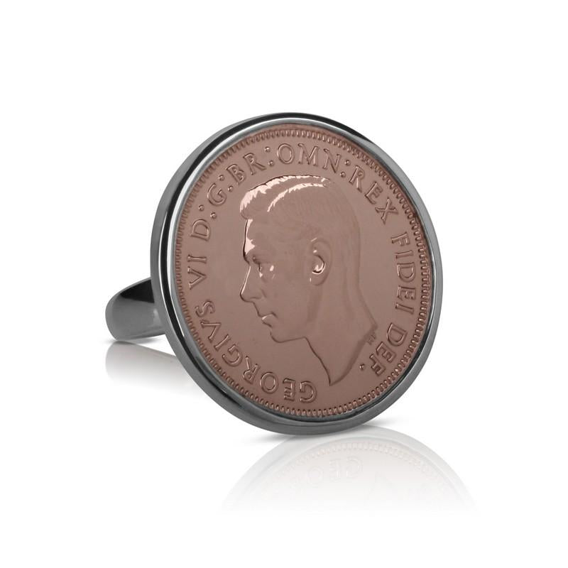 King George VI Australian Rose Gold & Silver Half Penny Coin Ring