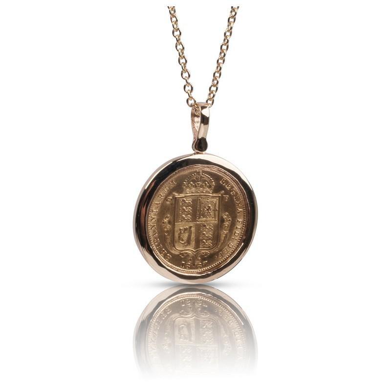 Queen Victoria Gold Shield Half Sovereign Pendant