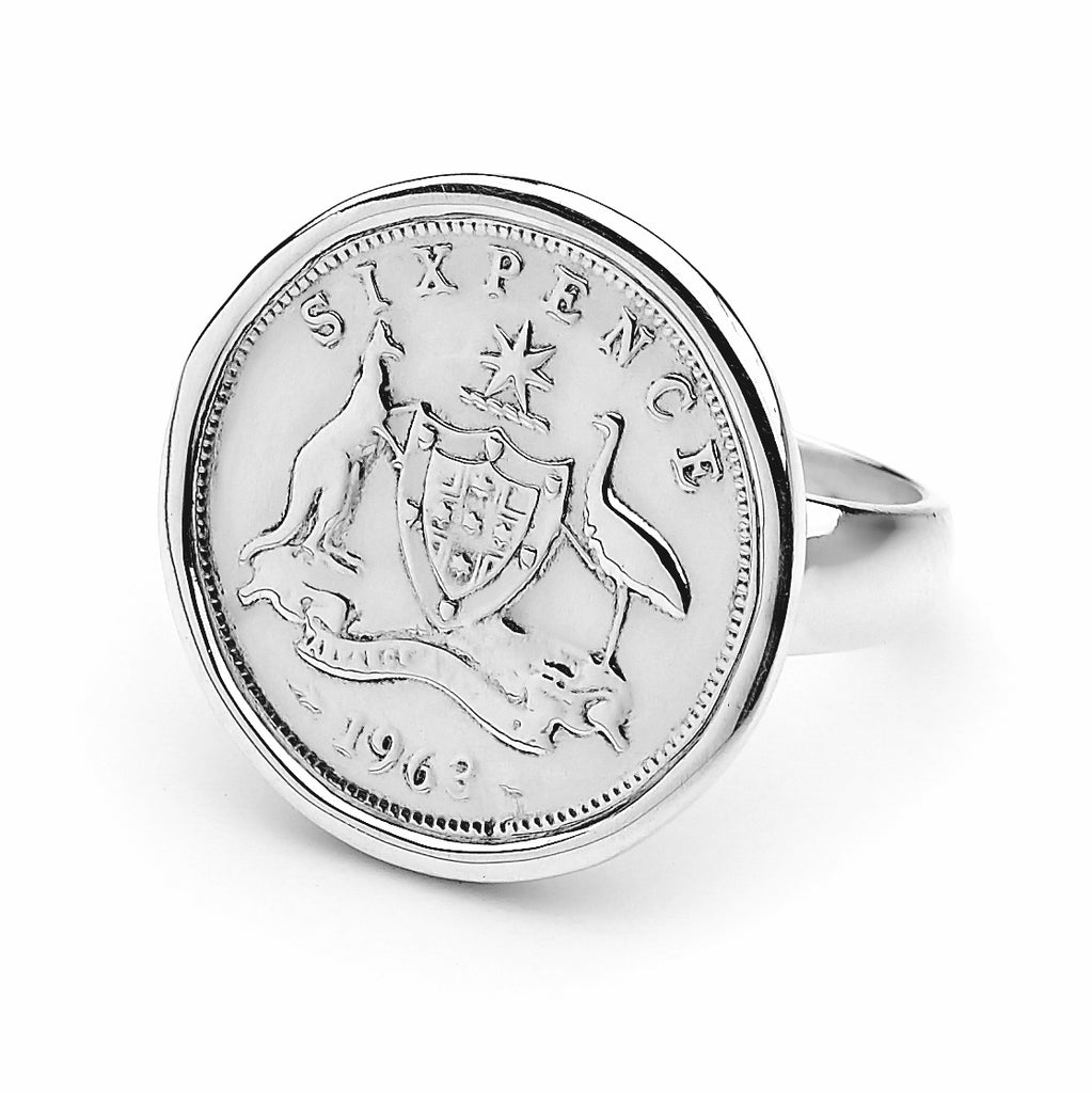 Australian Sixpence Coin Ring - Years 1938 to 1950