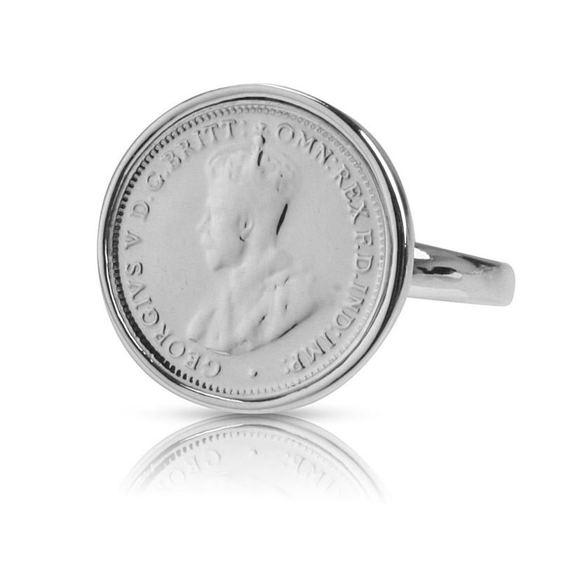 Australian King George V Threepence Coin Ring