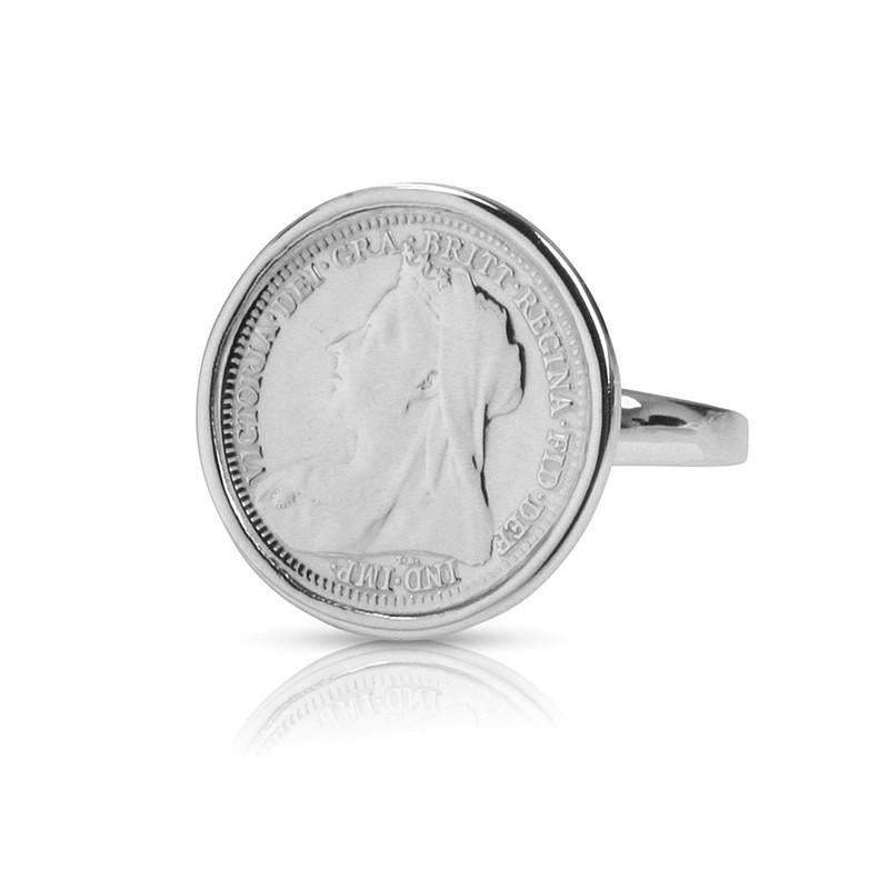 Veiled Queen Victoria Coin Sterling Silver Ring
