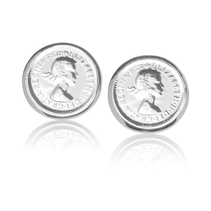 Queen Elizabeth II Australian Wheat Threepence Coin Stud Earrings