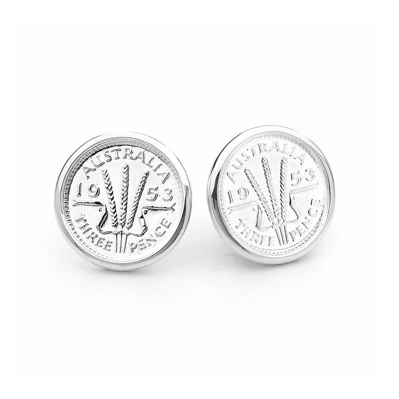 Australian Wheat Threepence Coin Stud Earrings