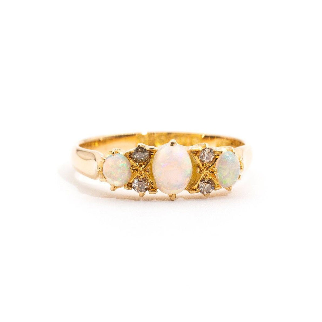 Kamila Vintage Opal & Diamond Ring Rings Imperial Jewellery - Auctions, Antique, Vintage & Estate