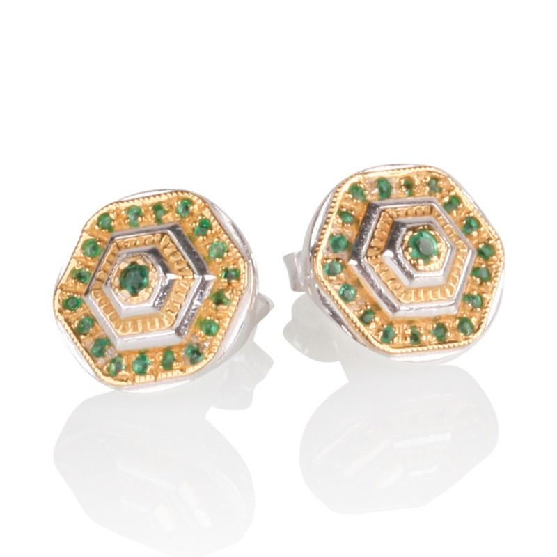 Lady Lorna Sterling Silver & 18ct Gold Emerald Stud Earrings