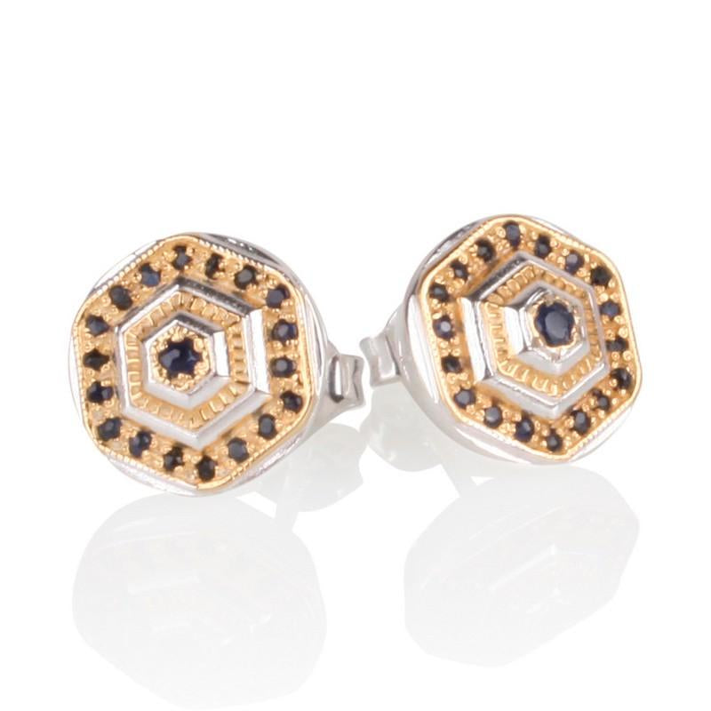Lady Lorna Sterling Silver & 18ct Gold Sapphire Stud Earrings