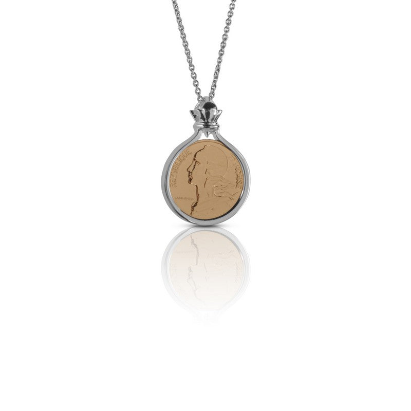 French Liberty 10 Centimes Two-Tone Sterling Silver Pendant