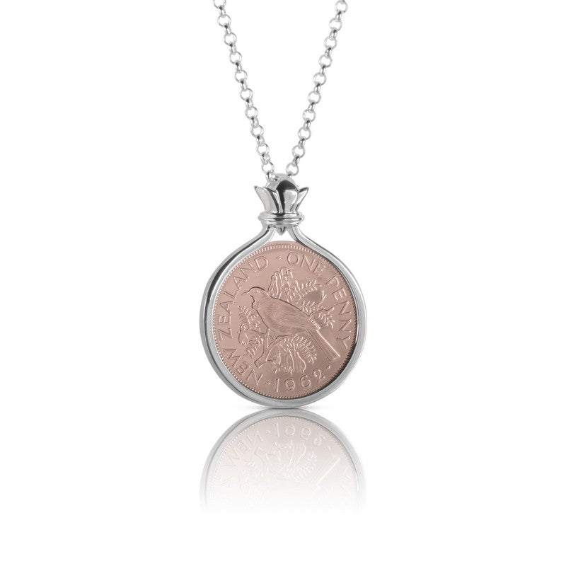 New Zealand Rose Gold Silver One Penny Coin Pendant Cotton Co Australia