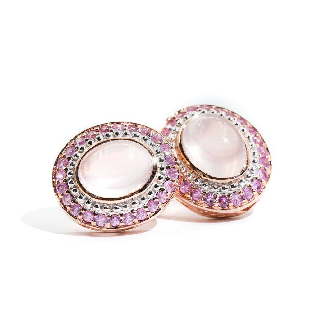 Rose-Quartz-Pink-Sapphire-Cluster-Earrings-Kiki-IJ-0321-480 Imperial Jewellery - Auctions, Antique, Vintage & Estate