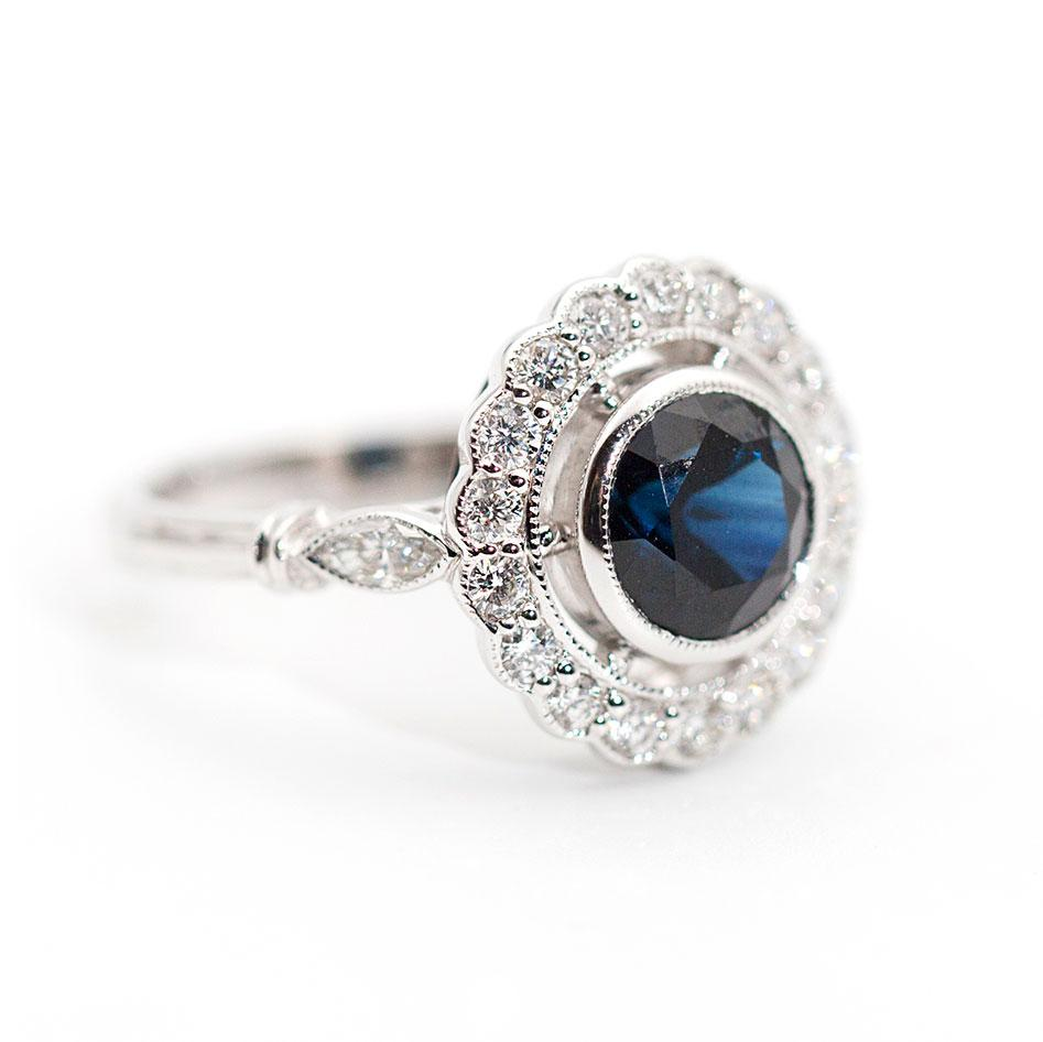 Sandra Sapphire and Diamond Ring