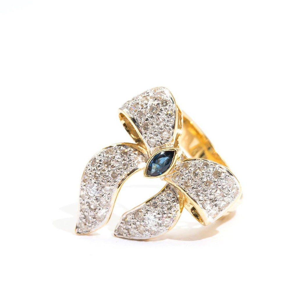 Sapphire-Diamond-Bow-Ring-Bessie-IJ-0321-469 Imperial Jewellery - Auctions, Antique, Vintage & Estate