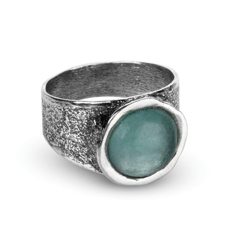 Aurelia Ancient Roman Glass Sterling Silver Ring