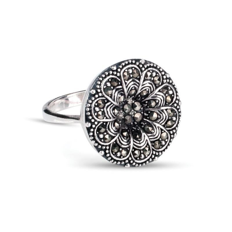 Emily May Sterling Silver & Marcasite Ring
