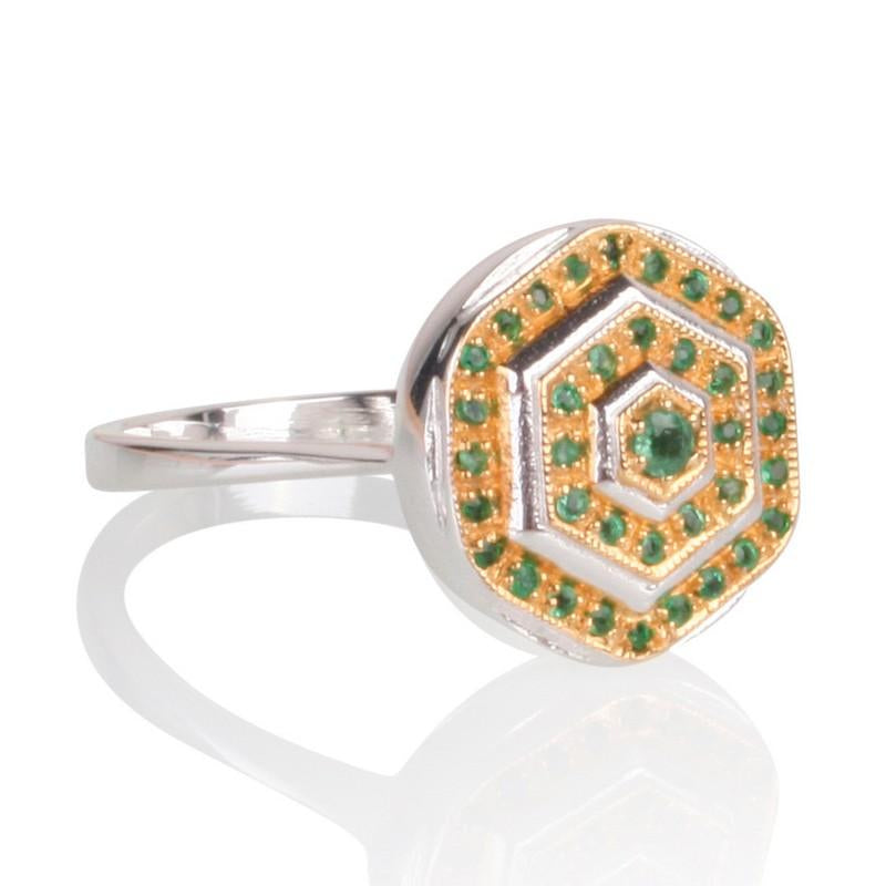 Lady Lorna Sterling Silver & 18ct Gold Emerald Ring