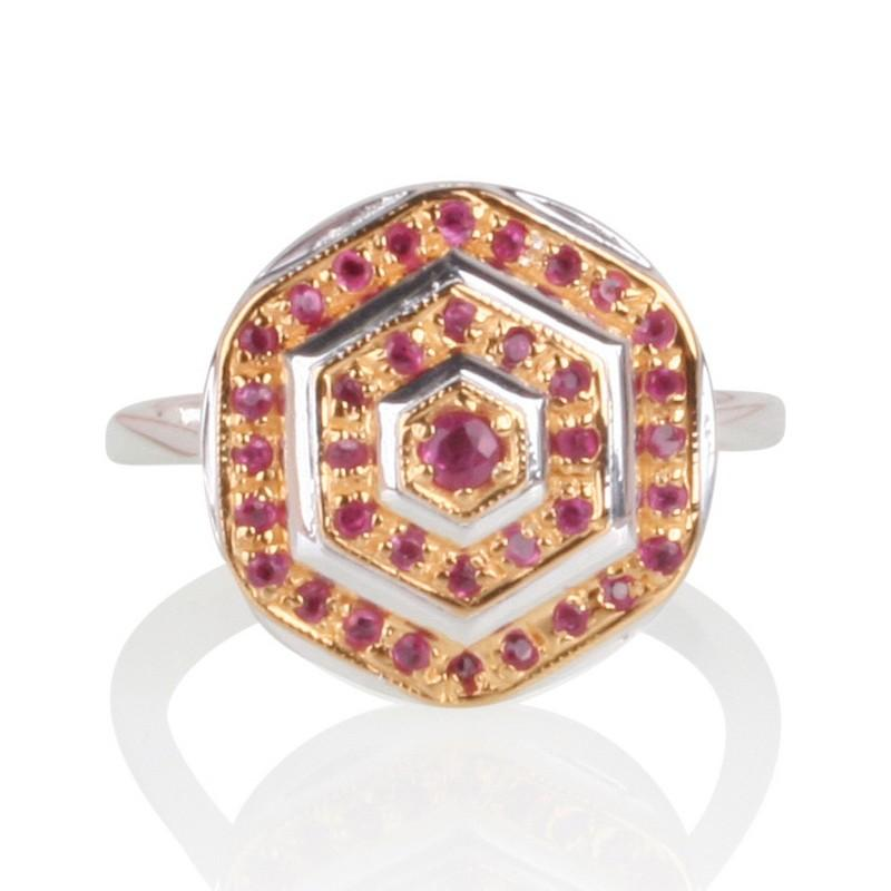 Lady Lorna Sterling Silver & 18ct Gold Ruby Ring