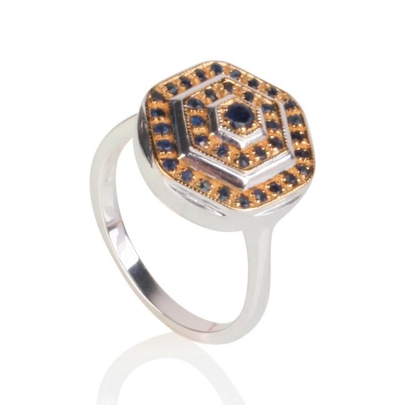 Lady Lorna Sterling Silver & 18ct Gold Sapphire Ring