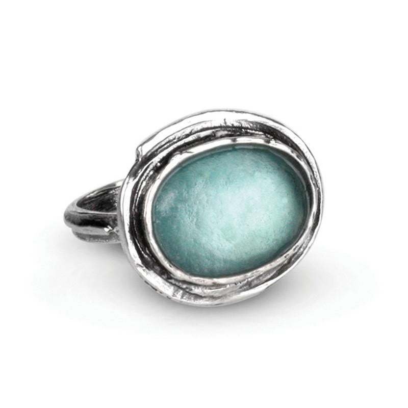 Venus Ancient Roman Glass Sterling Silver Ring