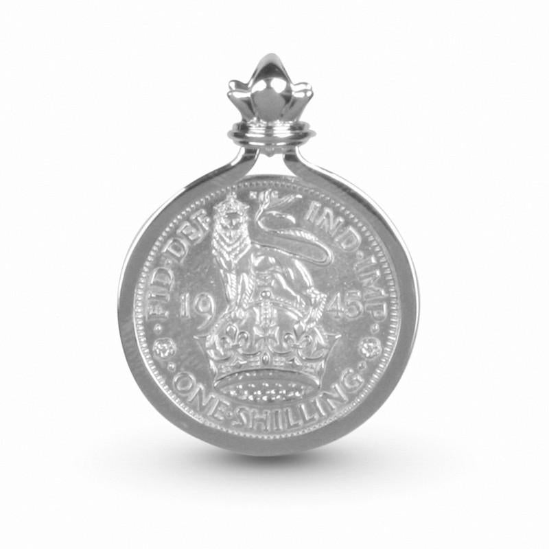 Restored British Empire New Style Lion Shilling Coin Pendant Set In Sterling Silver