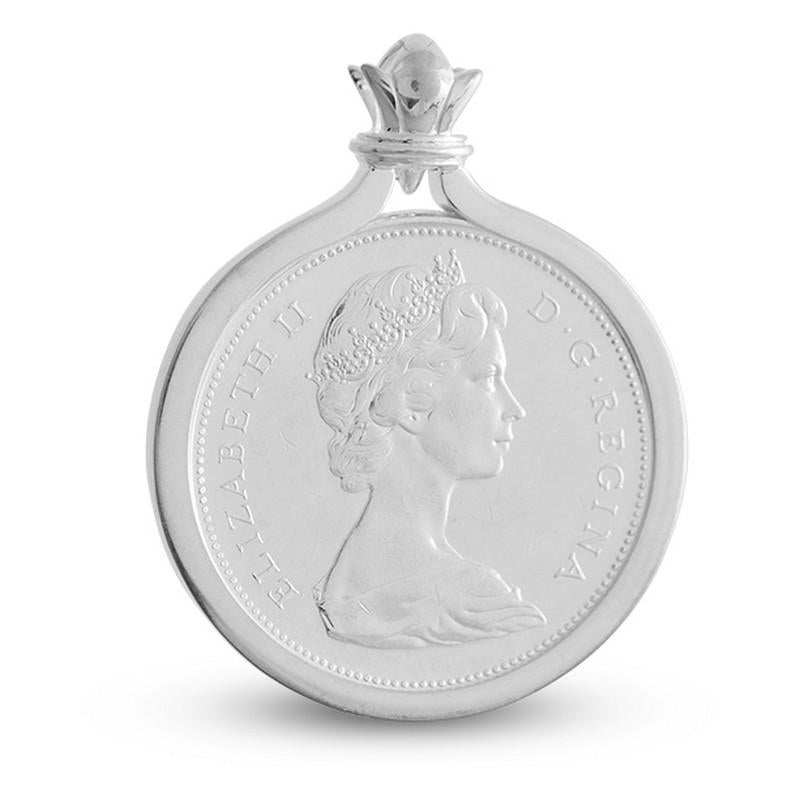 Canada 1 Dollar Voyageurs Sterling Silver Coin Pendant