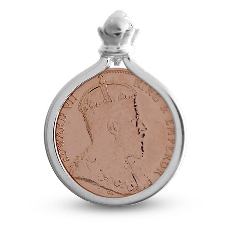 Ceylon 1 cent Coin Rose Gold Finished Sterling Silver Pendant