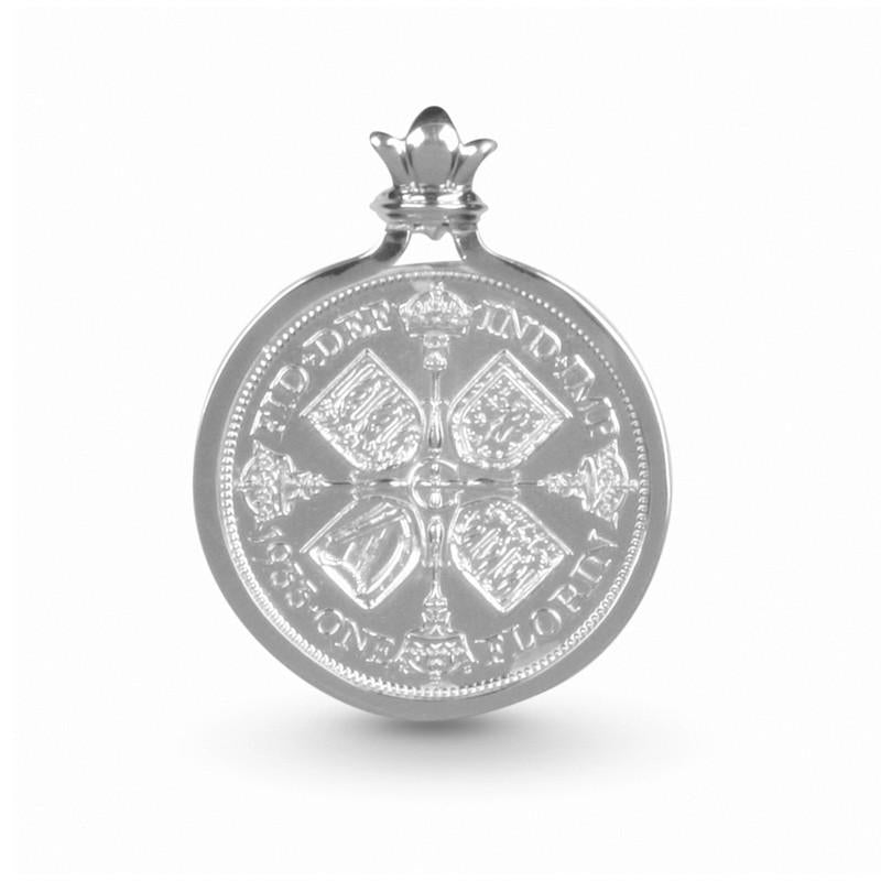 Restored British Empire Cruciform Shields Florin Coin Pendant Set In Sterling Silver