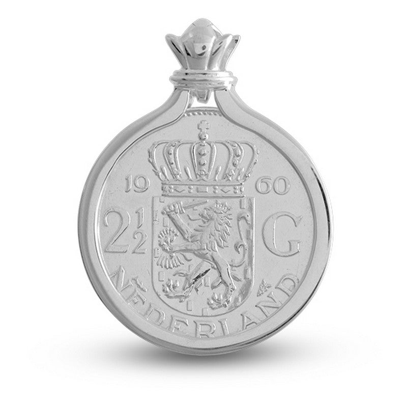 Netherlands 2.5 Gulden Coat of Arms Pendant Set In Sterling Silver