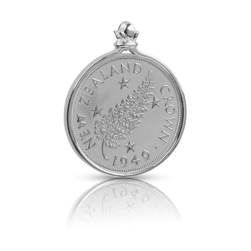 New Zealand Crown Coin Pendant Set in Sterling Silver