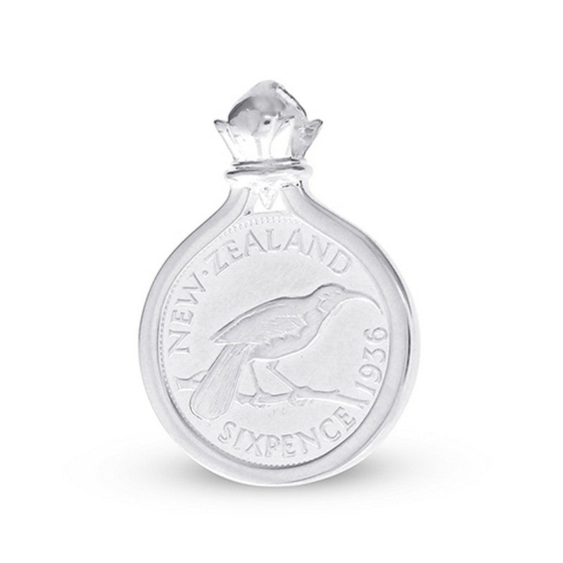 New Zealand Sixpence Coin Pendant Set in Sterling Silver