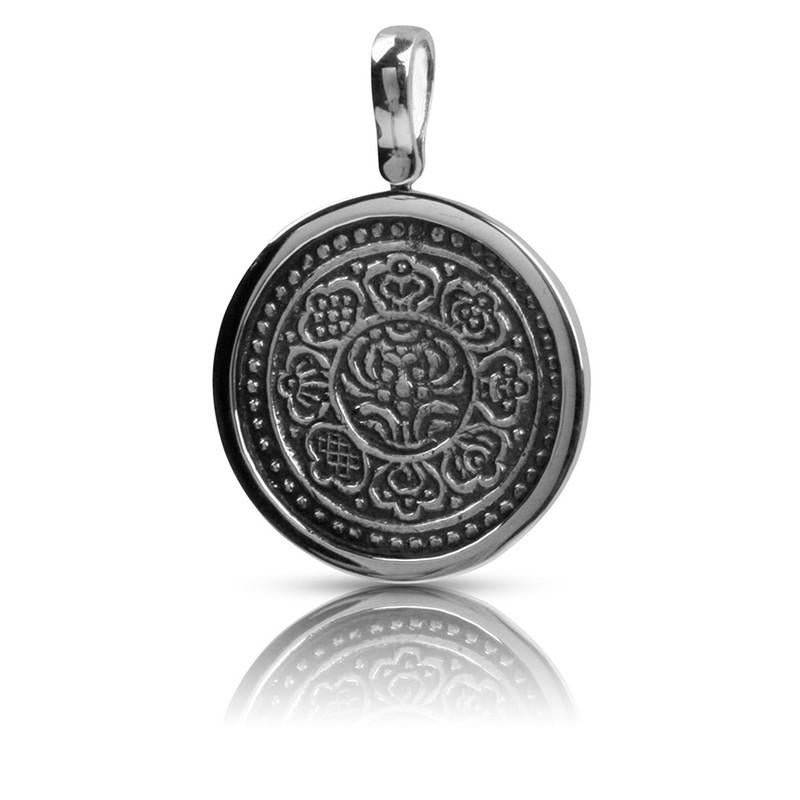 Tibetan Karma Coin Pendant Set in Sterling Silver