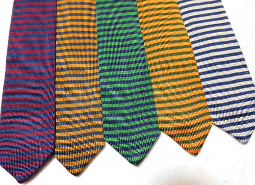 239535 Silk Knit Horizontal Striped Necktie Made in Italy