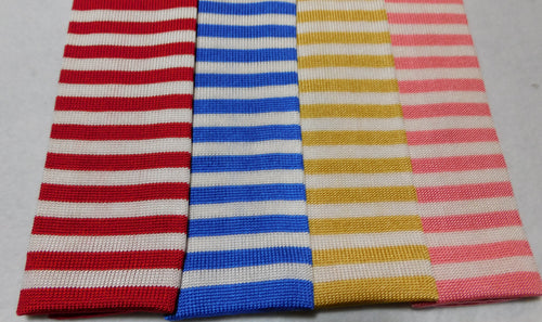 239532 Silk Knit Horizontal Striped Necktie Made in Italy