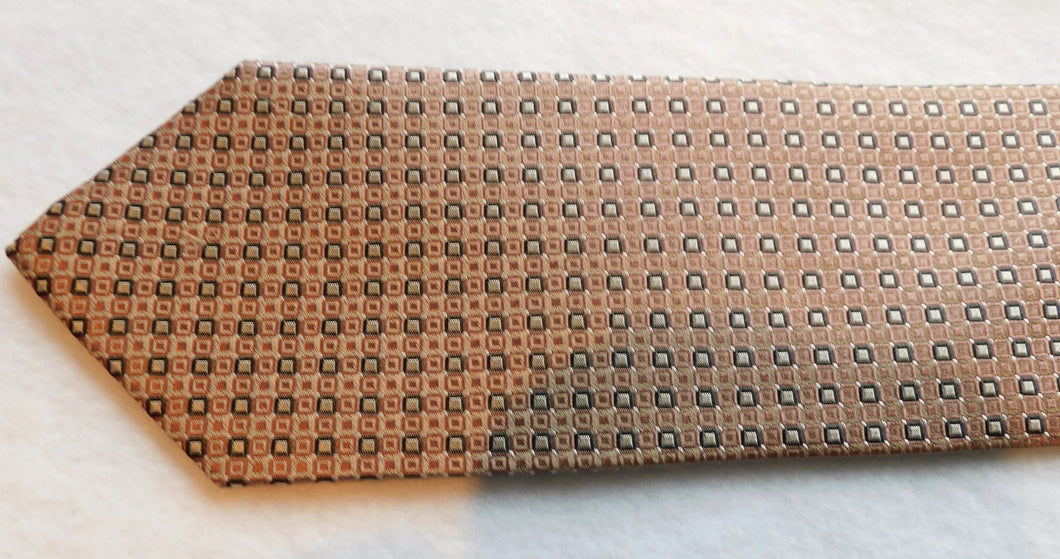 215650 Taupe Ground Woven Silk Navy/Silver Squares