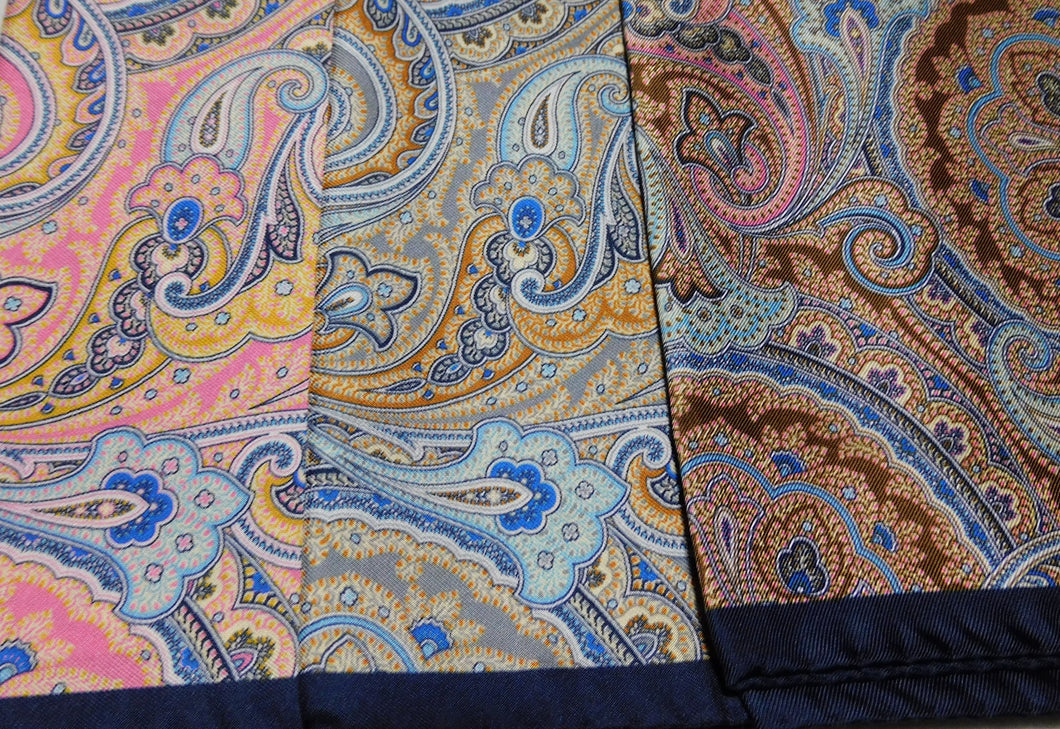 A2012 100% Silk Pocket Square Paisley Made In Italy
