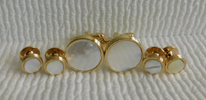 FS52 Gold Tone Mother Of Pearl Stud Set