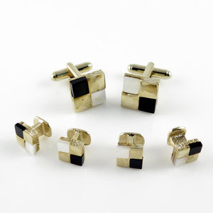 FS28 Goldtone Stud Set Mother of Pearl/Onyx Squares