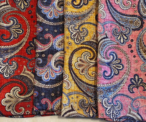 A2031 Italian Ground Silk Pocket Square Paisley