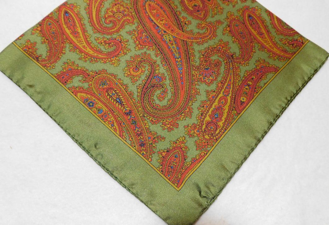A2001 100% Silk Pocket Square Paisley Made In Italy