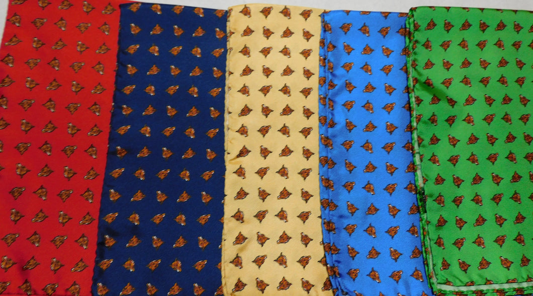 A2002 100% Silk Pocket Square Fox Made In Italy