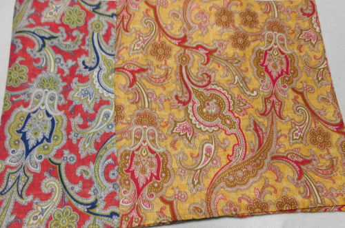 A2008 Linen Pocket Square Paisley Made In Italy