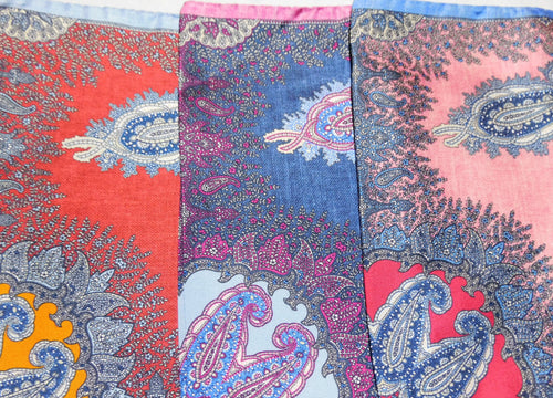 A2017 100% Silk Pocket Square Paisley Made In Italy