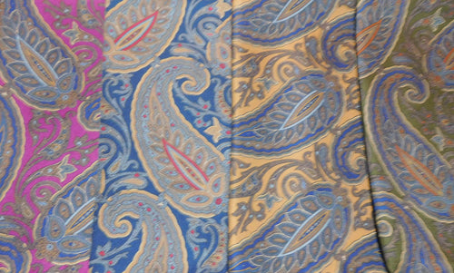 A2019 100% Silk Pocket Square Large Paisley Made In Italy