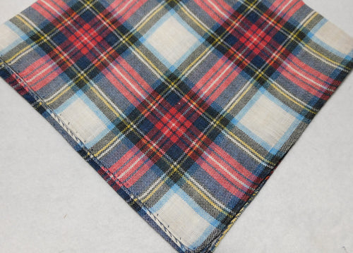 A2024 Linen Pocket Square Plaid Made In Italy