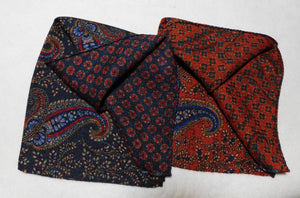 A4004 100% Wool Double Sided Pocket Square Made In Italy