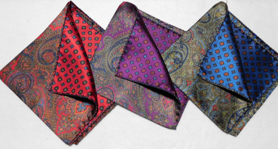 A4005 100% Silk Double Sided Pocket Square Made In Italy