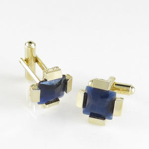 C280 Goldtone Four-sided w/ Blue Stone