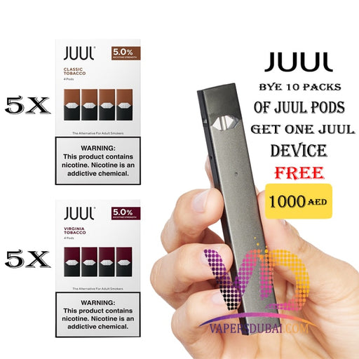 BUY 10 PACK OF JUUL PODS GET ONE JUUL DEVICE FREE - Vapers Dubai