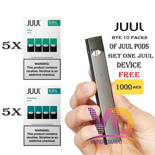 BUY 10 PACK OF JUUL PODS GET JUUL DEVICE FREE - Vapers Dubai